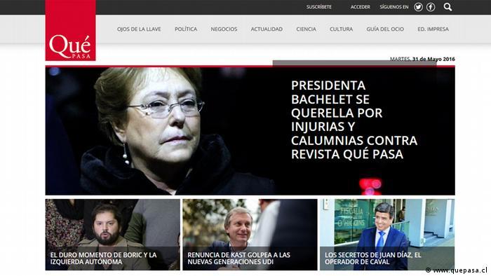 Screenshot Chilenische Zeitung Qué Pasa