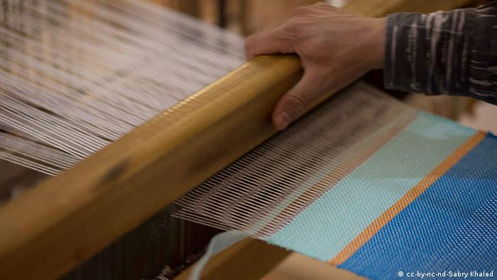 Close up of thread on the loom