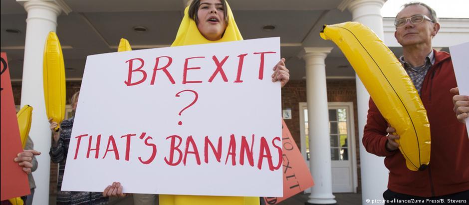 Protesto durante discurso de Boris Johnson, um dos maiores apoiadores da saída britânica da UE