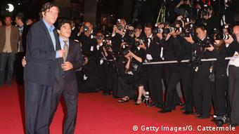 Emir Kusturica and Diego Maradona walking on the red carpet during the Cannes Film Festival 2008 Copyright: Getty Images/G. Cattermole