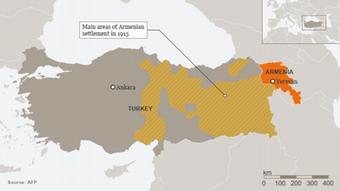 Peta populasi etnis Armenia di kesultanan Utsmaniyah pada 1915.