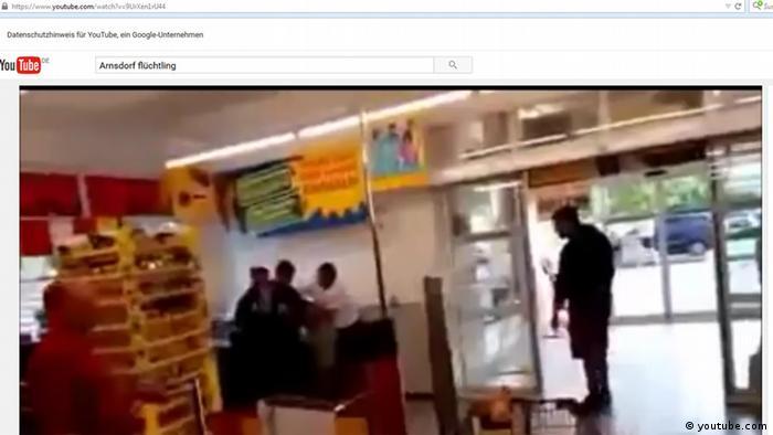 Deutschland Arnsdorf Screenshot Flüchtling im Supermarkt angegriffen