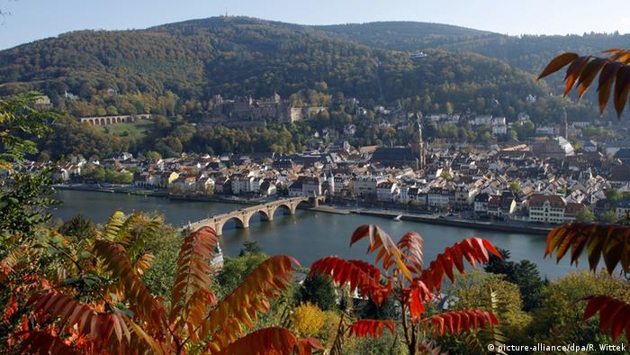 view of Heidelberg along the river, and bridge (picture-alliance/dpa/R. Wittek)