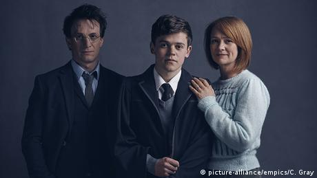 Undated handout photo of (from the left) Jamie Parker, Sam Clemmett and Poppy Miller who will play Harry Potter, Albus Potter and Ginny Potter respectively 