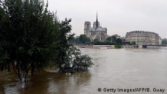The Seine at high levels in Paris