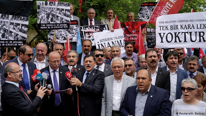 Turks protesting against the Armenia resolution in front of the German Embassy in Ankara