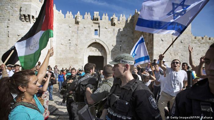Israel Palästina Flaggen-Marsch Damaskus Tor Jerusalem