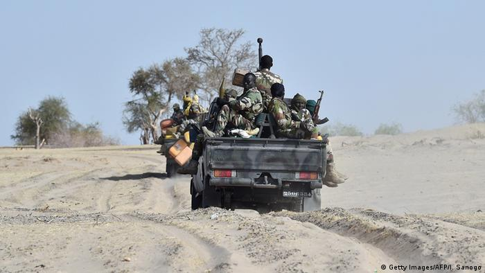 Nigerian soldiers patrol in Bosso near the border in a truck (Getty Images/AFP/I. Sanogo)