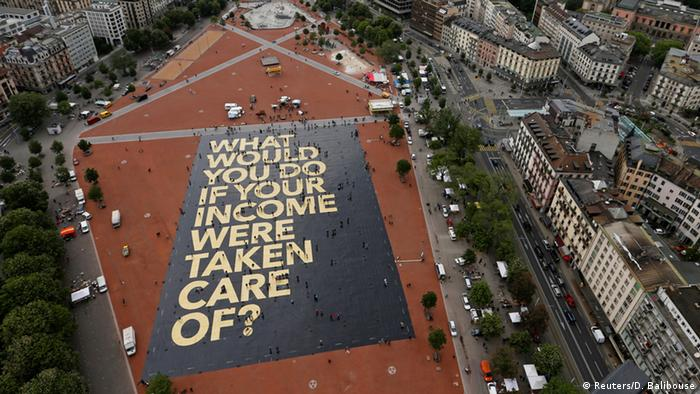 A huge poster in Switzerland ahead of the 2016 Basic Income referendum