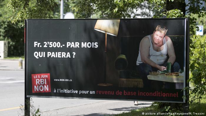 Plakat protivnika osnovne plaće u Švicarskoj