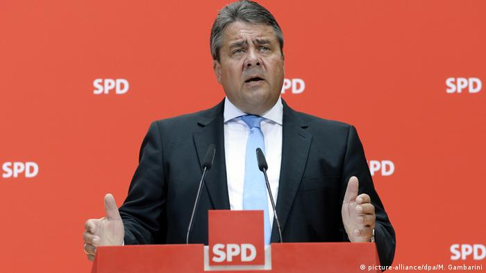 German vice chancellor Sigmar Gabriel speaks at a conference