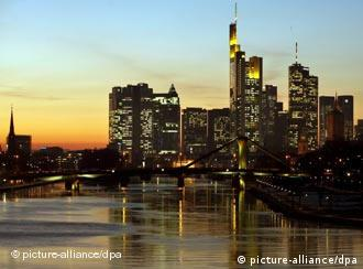 Frankfurt's skyline at dusk