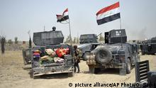 5.06.2016 Iraq's elite counterterrorism forces enter Shuhada neighborhood in Fallujah, Iraq, Sunday, June 5, 2016. Iraqi forces are pushing their way into the city to retake it from Islamic State militants. (AP Photo/Osama Sami) | picture alliance/AP Photo/O. Sami