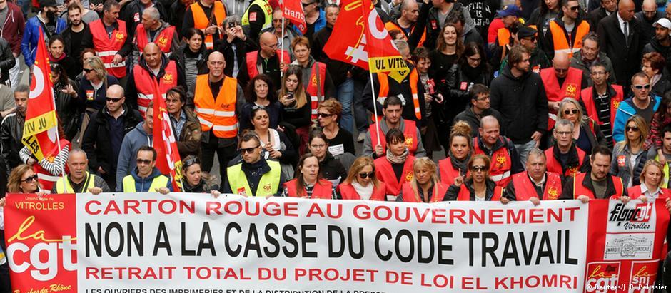 Protesto em Marselha contra a reforma trabalhista promovida pelo governo Hollande