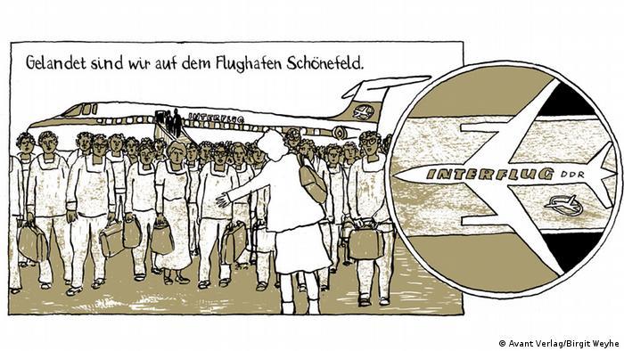 Página retirada do livro Madgermanes retrata momento em que eles chegaram a Berlim (RDA)