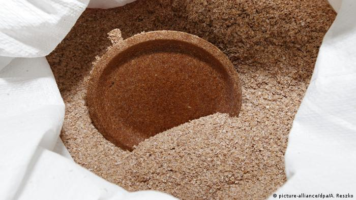 Biodegradable plate made of bran (picture-alliance/dpa/A. Reszko)