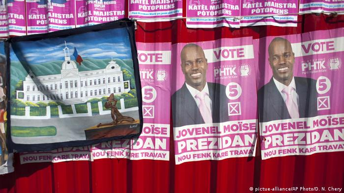 Haiti Wahlplakat 2015 Jovenel Moise (pictue-alliance/AP Photo/D. N. Chery)
