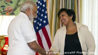 Indian Prime Minister Narendra and US Attorney General Lorreta Lynch