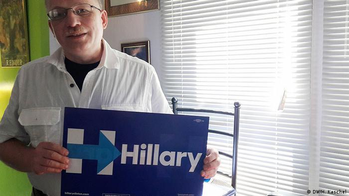 Clinton-Wähler Robert Hegerich (Foto: H. Kaschel/DW)