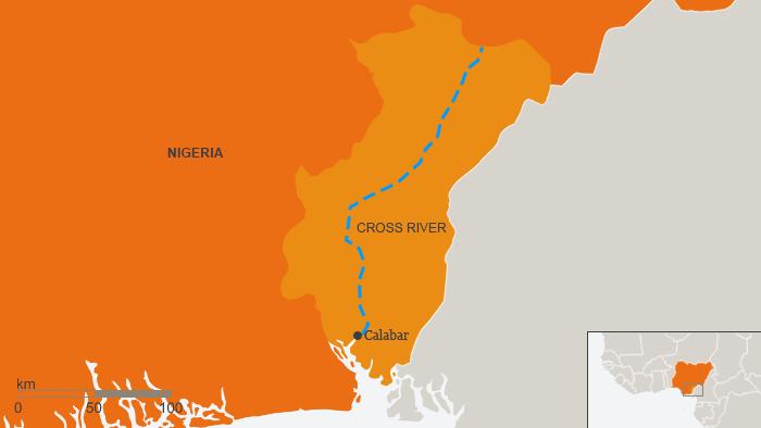 Karte Nigeria Calabar Autobahn Projekt Deutsch Englisch