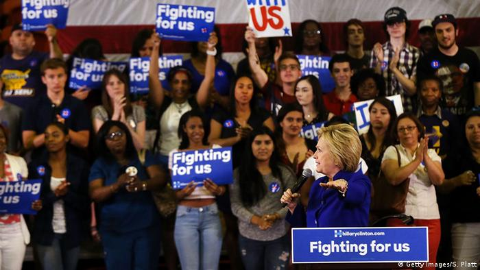 Hillary Clinton with supporters in New Jersey