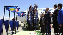 epa05350375 Ukrainian national soccer team players upon their team's arrival at the airport in Marseille, France, 07 June 2016. The team of Ukraine arrived in France for the UEFA EURO 2016 soccer championship that starts on 10 June 2016. EPA/UEFA (Handout photo provided by UEFA. Only editorial use relating to the event described is permitted. Photo may be distributed to third parties to use for the same purpose provided that no charge is made) HANDOUT EDITORIAL USE ONLY/NO SALES/NO ARCHIVES | +++NUR ZUR AKTUELLEN BERICHTERSTATTUNG VERWENDEN+++