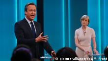 ***ACHTUNG: Keine Verwendung über den 30.6.2016 hinaus!*** 7.6.2015 *** epa05350899 British Prime Minister David Cameron (L) speaks during a ITV televised debate called 'Cameron and Farage Live: The EU Referendum', in London, Britain, 07 June 2016. Britons will vote in a referendum on whether to stay or leave the European Union on 23 June 2016. EPA/MATT FROST / ITV /REX/ SHUTTERSTOCK HANDOUT Press Editorial Use up to and including Thursday 30th June 2016. No archive after this date. HANDOUT EDITORIAL USE ONLY/NO SALES/NO ARCHIVES | Copyright: Getty Images/AFP/E. Dunand