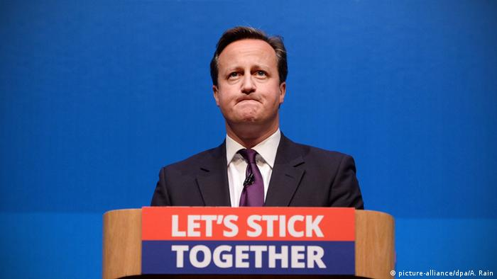 British Prime Minister David Cameron frowning