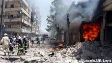 Syrien Aleppo Luftangriff auf Krankenhaus Feuerwehr