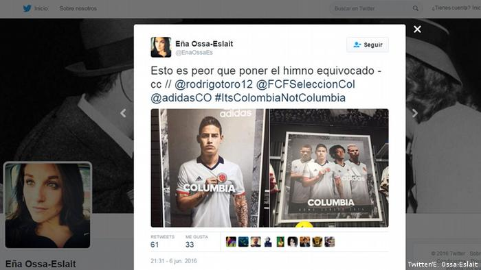 Mistakes in Copa America twitter It's Colombia not Columbia