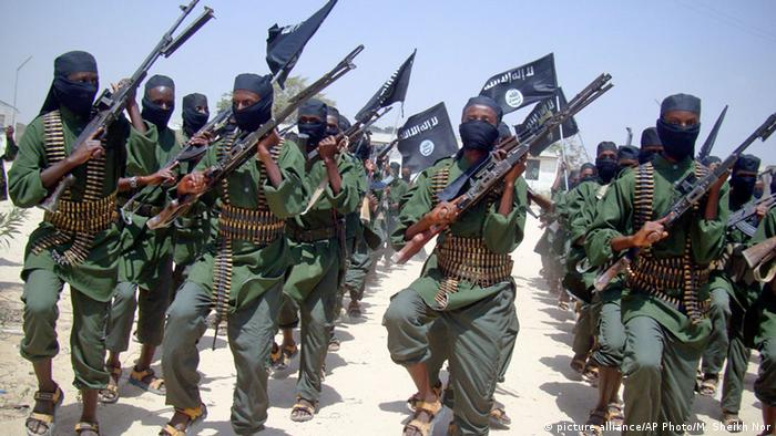 Somalia's al-Shabaab fighters in a parade with heavy weapons.