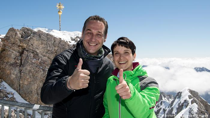 Heinz-Christian Strache and Frauke Petry atop Germany's Zugspitze mountain