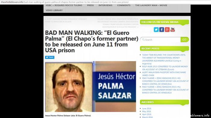 Screenshot thewhistleblowers.info Drogenboss Héctor Palma Salazar (thewhistleblowers.info)