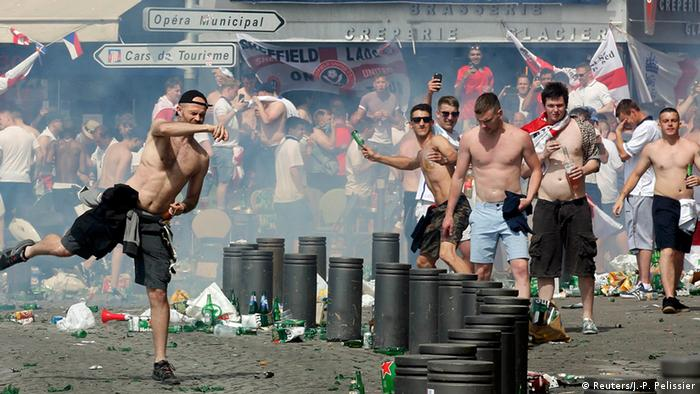 Rioting England fans in Marseille
