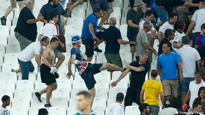 Russia and England fans clash in Marseille Velodrome Stadium