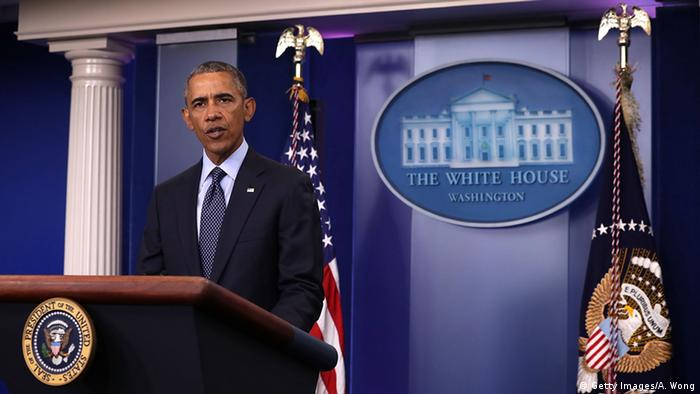 US President Barack Obama addressing reporters