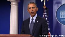 12.06.2016 *** WASHINGTON, DC - JUNE 12: U.S. President Barack Obama makes an address regarding the Orlando mass shooting on June 12, 2016 in Washington, DC. At least 50 people were killed and 53 were injured after suspected gunman Omar Mateen opened fire in a gay nightclub in Orlando, Florida. (Photo by Alex Wong/Getty Images) Copyright: Getty Images/A. Wong