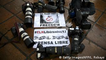 Kolumbien Protest für Pressefreiheit in Cali (Getty Images/AFP/L. Robayo)
