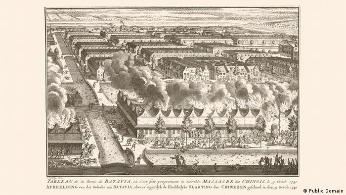 Massaker von Batavia Zeichnung brennender Häuser