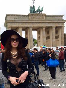 Clara in front of Brandenburg Gate