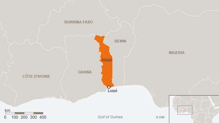 Map of Togo showing the Gulf og Guinea