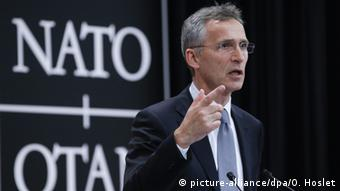 NATO Secretary General Jens Stoltenberg speaks during a press conference ahead of a NATO ministers meeting