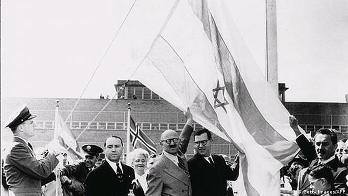 Archivbild vom israelischen Flagge vor den Vereinigten Nationen 1948 (Getty Images/AFP)