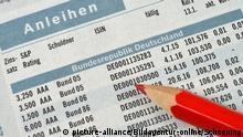 Zeitung, Börsenteil, Bundesanleihen +++ (C) picture-alliance/Bildagentur-online/Schoening