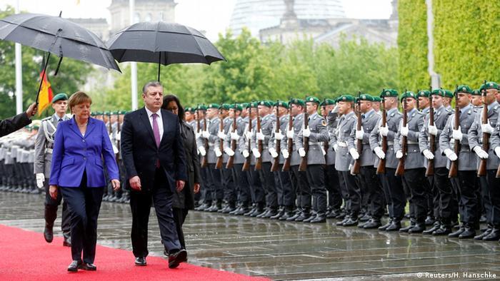Kvirikashvili was received with military honors in Berlin in June 2016