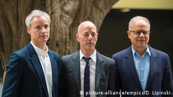 architects Ascan Mergenthaler, Jacques Herzog and Pierre de Meuron, Copyright: picture-alliance/empics/D. Lipinski