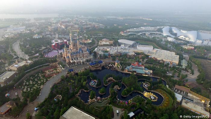 Aerial view of the Shanghai Disney Resort is shown on June 15, 2016 in Shanghai, China