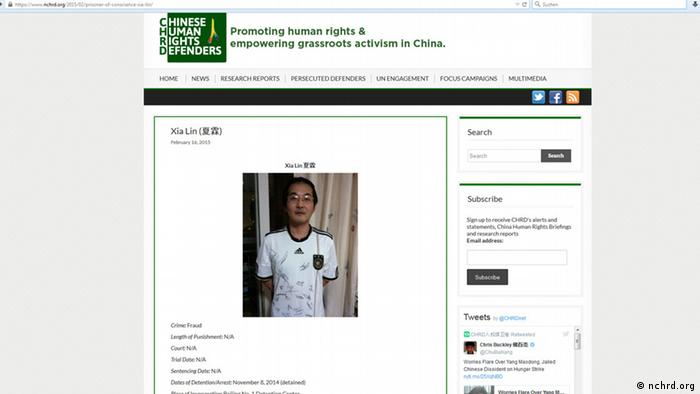 Screenshot Chinese Human Rights Defenders chinesischer Anwalt Xia Lin