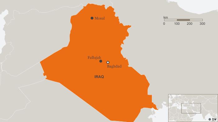 Karte Irak Englisch Mosul, Baghdad, Fallujah