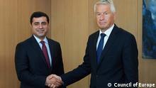Foto 2 : HDP Co-Vorsitzender selahaddin Demirtaş und Generalsekretär des Europarates Thorbjorn Jagland (17.06.2016) copyright free, Photo: Council of Europe